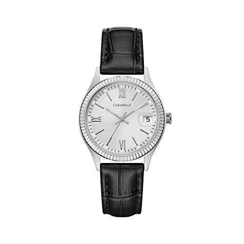 【当店1年保証】ブローバCaravelle Women's Quartz Stainless Steel and Leather Dress Watch, Color:Black (Model: 43M116)