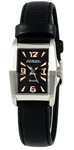 【当店1年保証】ブローバHarley Davidson by Bulova Women's Analog Rectangular Watch Black Leather Strap 76L14