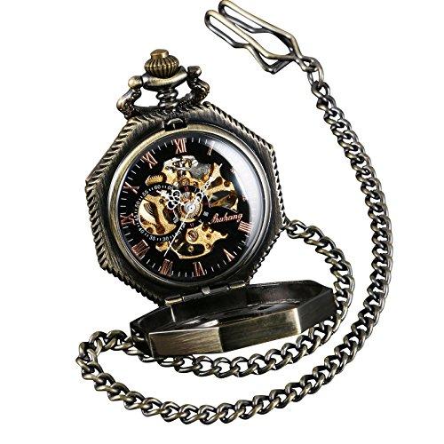 【当店1年保証】Shoppeスチームパンクポケットウォッチ ブロンズ オクタゴン 懐中時計 機械式 ケース45mm