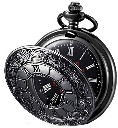腕時計, メンズ腕時計  steampunk 6.52E11 MJSCPHBJK Black Pocket Watch Roman Pattern Steampunk Retro Vintage Quartz Roman Numerals Pocket Watch (Black1) steampunk 6.52E11