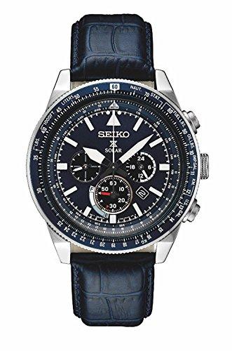 【当店1年保証】セイコーSeiko Men's Prospex Solar Chronograph Watch With Black Leather Strap