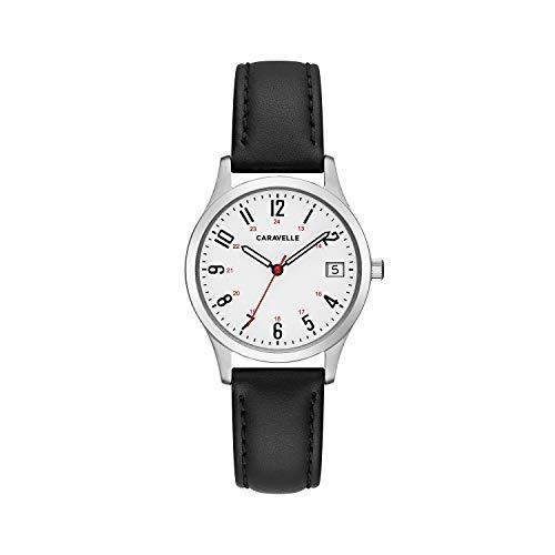 【当店1年保証】ブローバCaravelle Women's Quartz Stainless Steel and Leather Dress Watch, Color:Black (Model: 43M118)
