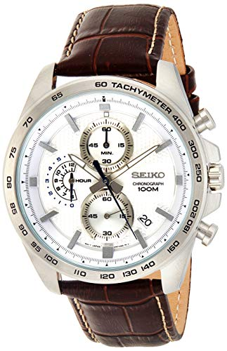 セイコー 腕時計 メンズ SSB263P1 Seiko Men's 44mm Brown Leather Band Steel Case Hardlex Crystal Quartz White Dial Analog Watch SSB263セイコー 腕時計 メンズ SSB263P1