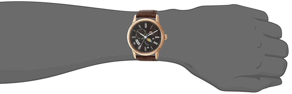 オリエント 腕時計 メンズ FAK00003T0 Orient Men's Sun and Moon Version 3 Stainless Steel Japanese-Automatic Watch with Leather Calfskin Strap, Brown, 22 (Model: FAK00003T0)オリエント 腕時計 メンズ FAK00003T0