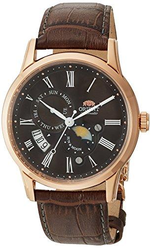 オリエント 腕時計 メンズ FAK00003T0 Orient Men's Sun and Moon Version 3 Stainless Steel Japanese-Automatic Watch with Leather Calfskin Strap, Brown, 22 (Model: FAK00003T0)オリエント 腕時計 メンズ FAK00003T0