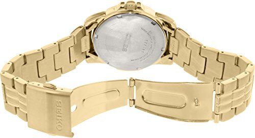 【当店1年保証】セイコーMens Watch Seiko SNE100 Gold Tone Stainless Steel Solar Quartz Link Bracelet Bl