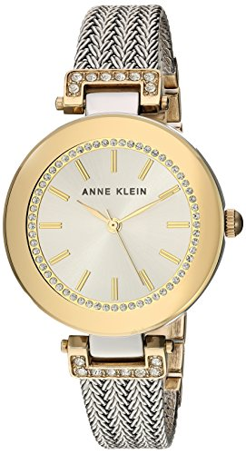 【当店1年保証】アンクラインAnne Klein Women's AK/1907SVTT Swarovski Crystal Accented Two-Tone Mesh Bracelet Watch