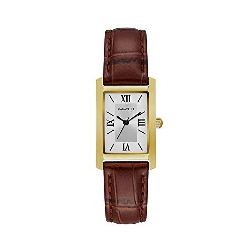 【当店1年保証】ブローバCaravelle Women's Quartz Stainless Steel and Leather Dress Watch, Color:Brown (Model: 44L234)