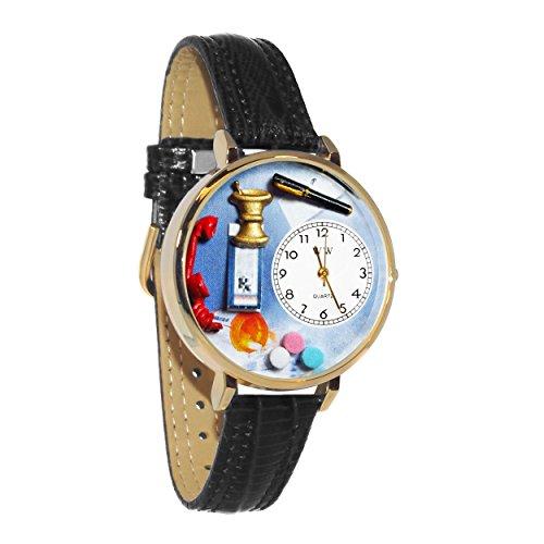 気まぐれな腕時計 かわいい プレゼント クリスマス ユニセックス Pharmacist Black Padded Leather And Goldtone Watch #WG-G0620014気まぐれな腕時計 かわいい プレゼント クリスマス ユニセックス