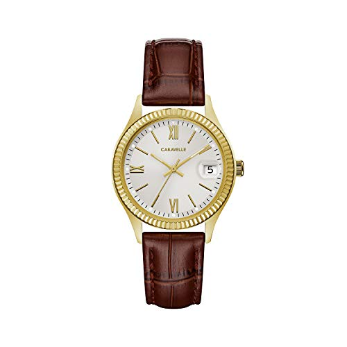 【当店1年保証】ブローバCaravelle Women's Quartz Stainless Steel and Leather Dress Watch, Color:Brown (Model: 44M111)