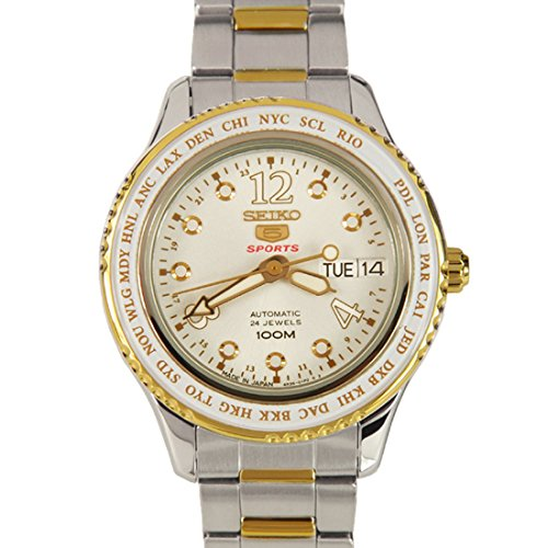 【当店1年保証】セイコーMens Watch Seiko SRP368 Seiko 5 Two Tone Stainless Steel Case and Bracelet Silve