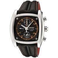 セイコー腕時計レディースSeikoMen'sSNAB05ChronographBlackDialBlackLeatherAlarmWatchセイコー腕時計レディース
