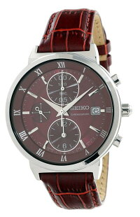 セイコー腕時計レディースSeikoChronographLadiesRedLeatherWatchSNDV37P1セイコー腕時計レディース