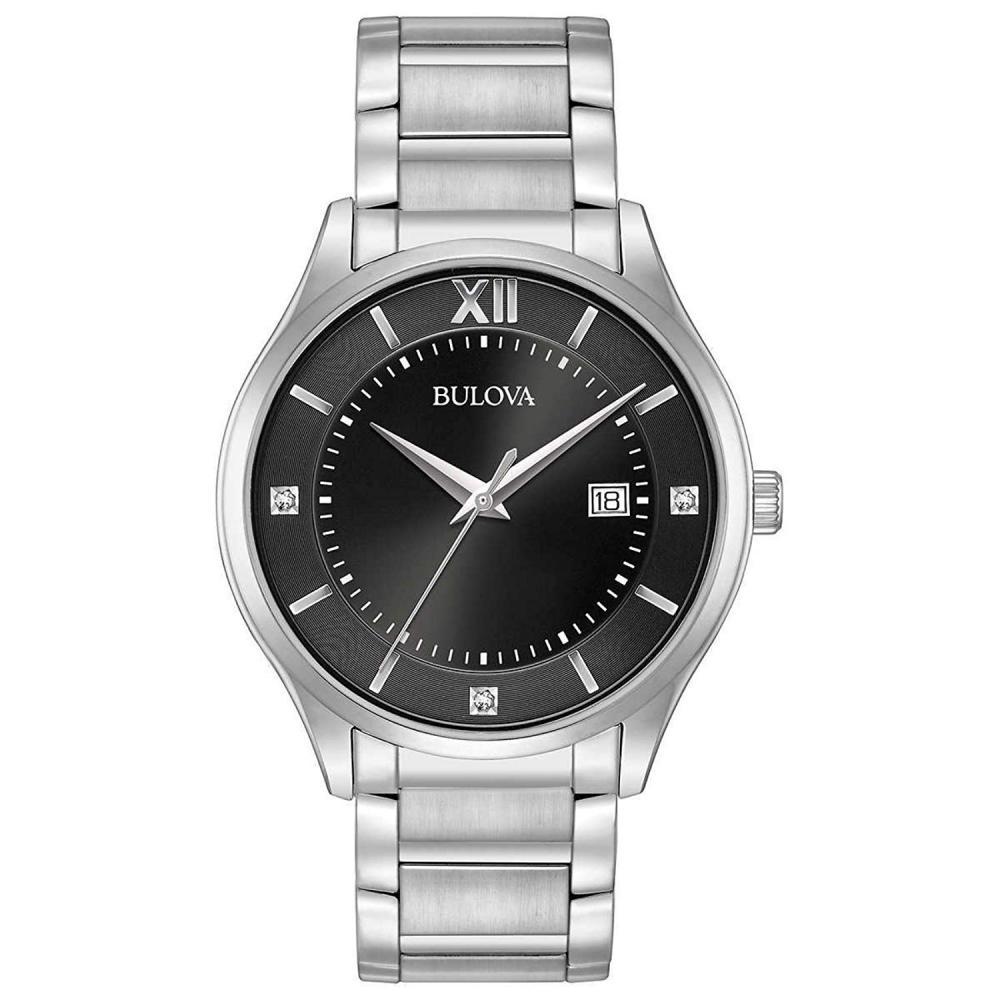 ブローバ 腕時計 メンズ Bulova Black Dial Diamond Accent Men's Watch 96D142ブローバ 腕時計 メンズ