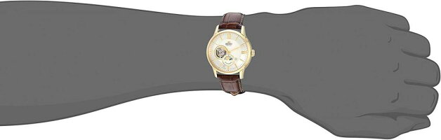 オリエント腕時計メンズOrientMen's'SunandMoonOpenHeart'JapaneseAutomaticStainlessSteelandLeatherDressWatch,Color:Black(Model:RA-AS0004S10A)オリエント腕時計メンズ