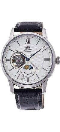 オリエント腕時計メンズOrientRA-AS0005S10AMen'sSilverToneSunandMoonOpenHeartLeatherBandAutomaticWatchオリエント腕時計メンズ