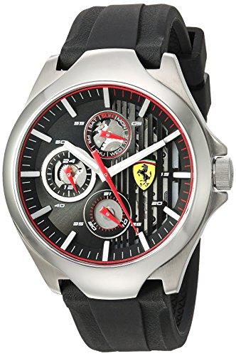 フェラーリ 腕時計 メンズ Ferrari Men's 'Aero' Quartz Stainless Steel and Silicone Casual Watch, Color Black (Model: 0830510)フェラーリ 腕時計 メンズ