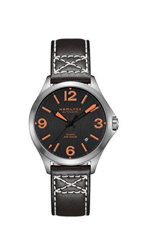 ハミルトン 腕時計 レディース Hamilton Khaki Aviation Black Dial Leather Strap Men's Watch H76235731ハミルトン 腕時計 レディース
