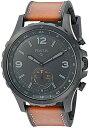 フォッシル 腕時計 メンズ Fossil Q Men's Nate Stainless Steel and Leather Hybrid Smartwatch, Color: Black, Brown (Model: FTW1114)フォッシル 腕時計 メンズ