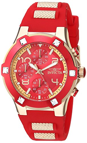 インヴィクタ インビクタ 腕時計 レディース Invicta Women's BLU Gold Quartz Watch with Silicone Strap, red, 22 (Model: 24194インヴィクタ インビクタ 腕時計 レディース