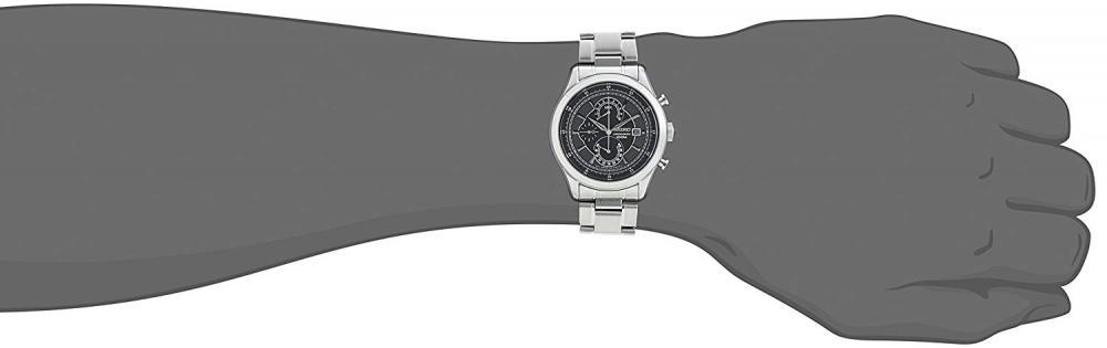 セイコー 腕時計 メンズ Seiko Quartz Chronograph Black Dial Stainless Steel Mens Watch SPC167セイコー 腕時計 メンズ