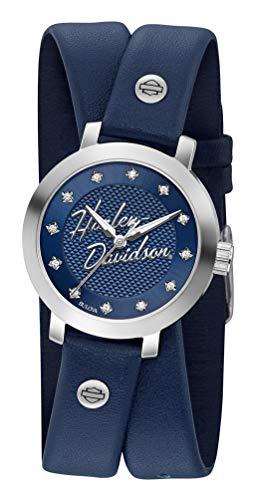 ブローバ 腕時計 レディース Harley-Davidson Women's Crystal Double Wrap Leather Watch - Blue 76L189ブローバ 腕時計 レディース