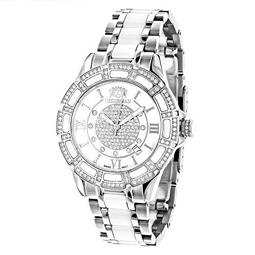 ラックスマン 腕時計 レディース Galaxy LUXURMAN Ladies Diamond Ceramic Watch 1.25ct White MOP Galaxyラックスマン 腕時計 レディース Galaxy