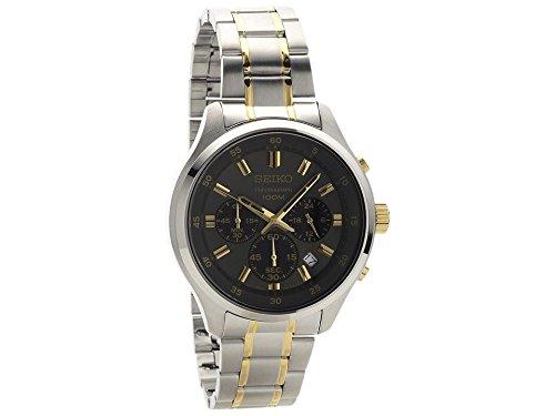 セイコー 腕時計 メンズ Seiko Men's 43mm Two Tone Steel Bracelet Steel Case Hardlex Crystal Quartz Black Dial Analog Watch SKS591セイコー 腕時計 メンズ