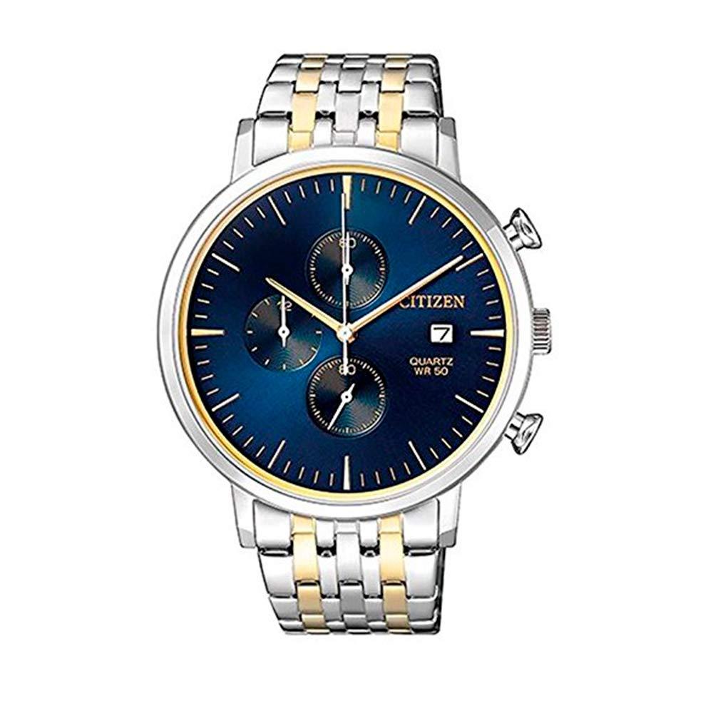 シチズン 逆輸入 海外モデル 海外限定 アメリカ直輸入 Citizen Stainless Steel Watch, Round Blue Dial Men's, Two Tone (Silver/Gold) Case and Band with Chronograph and Date Display, AN3614-54Lシチズン 逆輸入 海外モデル 海外限定 アメリカ直輸入