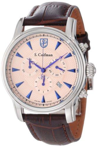 S.Coifman(コイフマン) 腕時計 メンズ S. Coifman Men's SC0219 Chronograph Rose Textured Dial Brown Leather WatchS.Coifman(コイフマン) 腕時計 メンズ