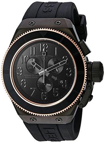 スイスレジェンド 腕時計 メンズ Swiss Legend Men's 'Trimix Diver' Quartz Stainless Steel and Silicone Casual Watch, Color:Black (Model: 13845-BLK-RB)スイスレジェンド 腕時計 メンズ