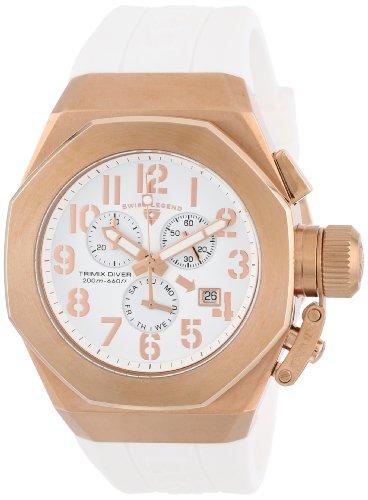 スイスレジェンド 腕時計 メンズ Swiss Legend Men's 10542-RG-02-RA Trimix Diver Chronograph White Dial White Silicone Watchスイスレジェンド 腕時計 メンズ
