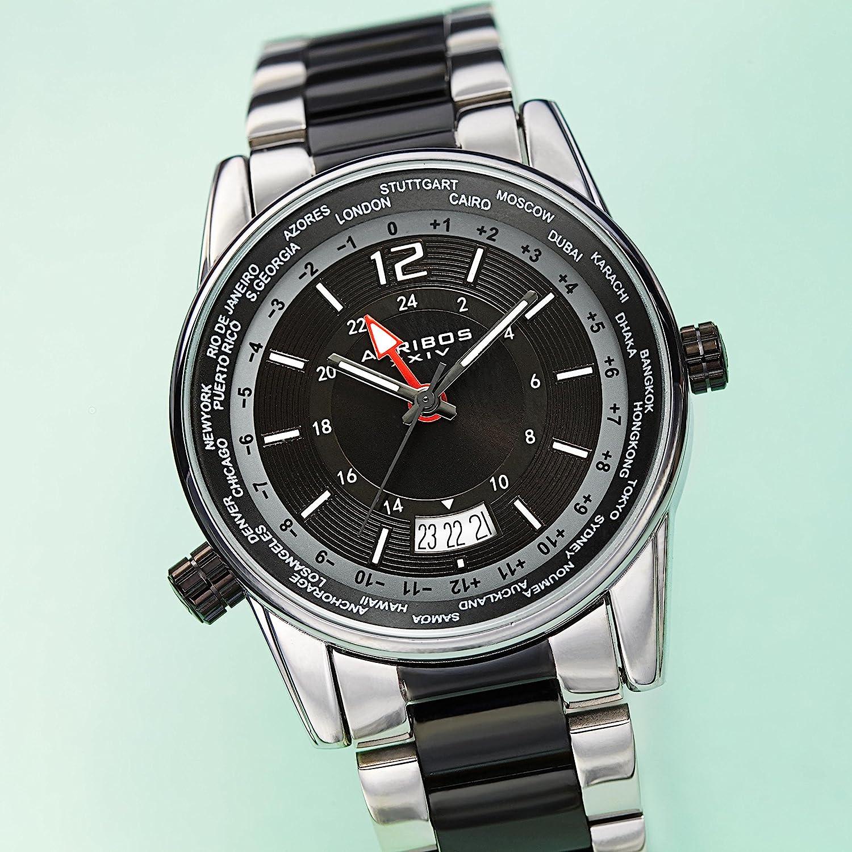 アクリボスXXIV 腕時計 メンズ Akribos XXIV Multifunction Men's Watch ? Gunmetal Stainless Steel Chain Link Bracelet ? Global Time Bezel - 24 Hour - Orange Sunburst Dial ? AK1021GNORアクリボスXXIV 腕時計 メンズ