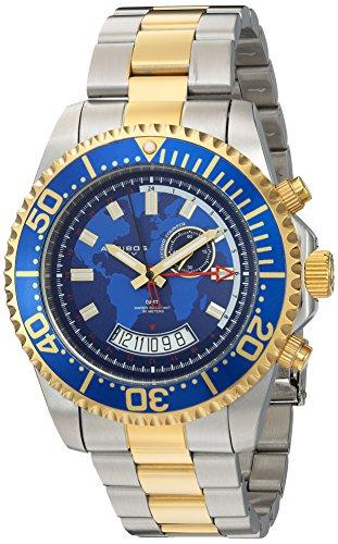 アクリボスXXIV 腕時計 メンズ Akribos XXIV Men's Diver Watch - Multifunction Retrograde Date and Seconds, GMT ? Gold and Silver Stainless Steel Bracelet Wristwatch with Blue Bezel and Dial - AK955TTGアクリボスXXIV 腕時計 メンズ
