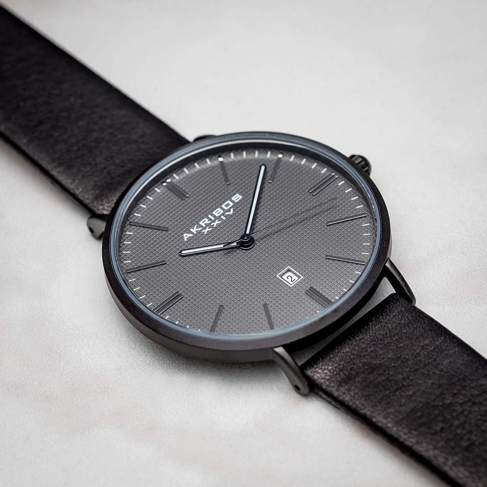 アクリボスXXIV 腕時計 メンズ Akribos XXIV Men's Matte Black Case with Dark Gray Textured Dial on Black Genuine Leather Strap Watch AK935BKアクリボスXXIV 腕時計 メンズ