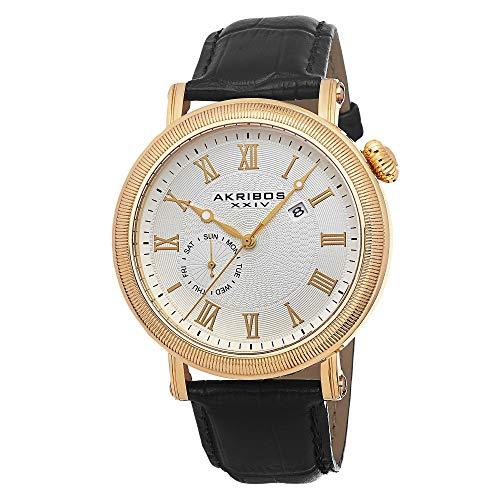 アクリボスXXIV 腕時計 メンズ Akribos XXIV Men's AK673YG Swiss Quartz Multifunction Gold-tone Stainless Steel Black Leather Strap WatchアクリボスXXIV 腕時計 メンズ