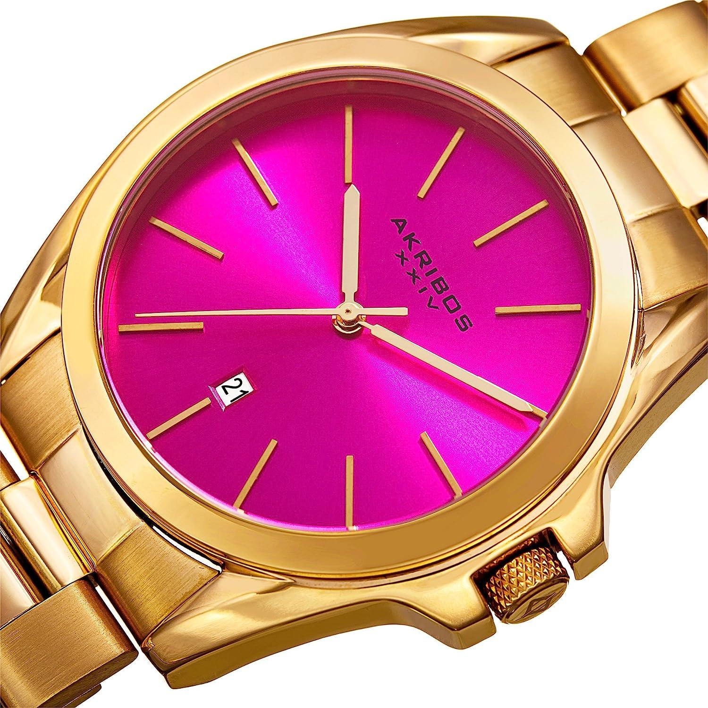 アクリボスXXIV 腕時計 レディース Akribos XXIV AK948 Unisex Gold Tone Case on Stainless Steel Gold Bracelet with Dial and Gold Tone Hands Watch (Hot Pink)アクリボスXXIV 腕時計 レディース