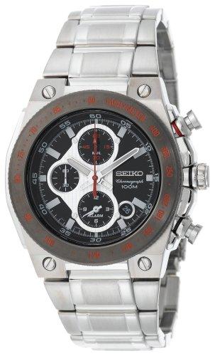 腕時計, メンズ腕時計  Seiko Mens SNAD55 Silver-Tone Black Dial Red Markers Alarm Chronograph Watch