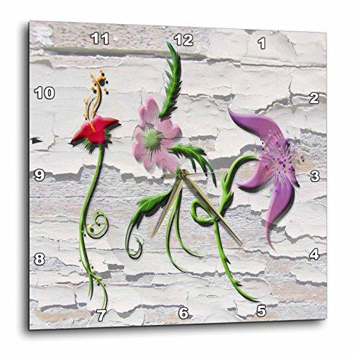 """壁掛け時計 インテリア 海外モデル アメリカ 輸入 3dRose DPP_167149_2 Wall Look Background and Flowers Wall Clock, 13 by 13""""壁掛け時計 インテリア 海外モデル アメリカ 輸入"""