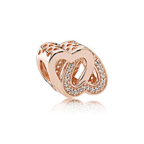 レディースジュエリー・アクセサリー, ブレスレット  Pandora Jewelry Entwined Hearts Cubic Zirconia Charm in Pandora Rose