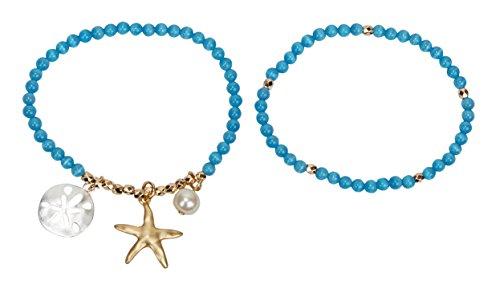 レディースジュエリー・アクセサリー, ブレスレット SPUNKYsoul SPUNKYsoul Starfish Stretch Bracelets Silver, Gold Blue for Women Beach Collection (Cat Eye Stone Blue)SPUNKYsoul