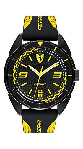 フェラーリ 腕時計 メンズ Ferrari Men's Forza Quartz Plastic and Silicone Strap Casual Watch, Color: Black with Yellow Detail (Model: 830516)フェラーリ 腕時計 メンズ