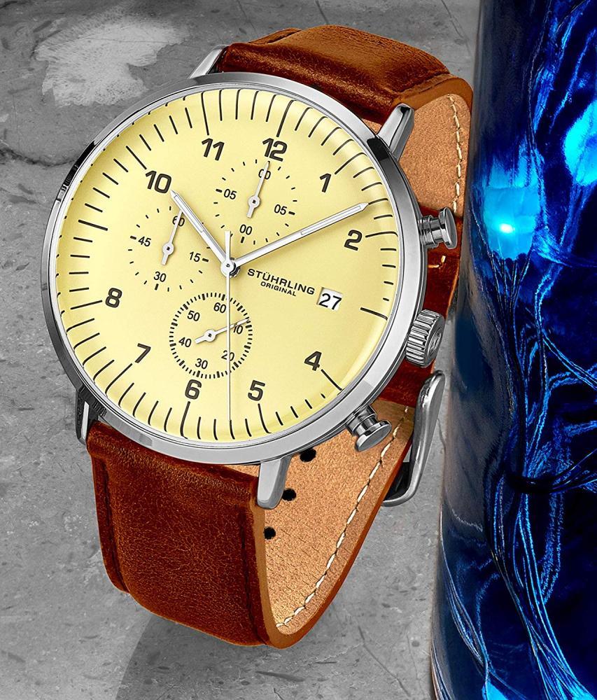 ストゥーリングオリジナル 腕時計 メンズ Stuhrling Original Mens Chronograph Watch Brown Leather Watch Strap Off White Dial with Date Minimalist Style Case - 3911 Watches for Men Collectionストゥーリングオリジナル 腕時計 メンズ
