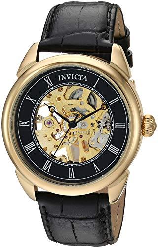 腕時計, メンズ腕時計  Invicta Mens Specialty Stainless Steel Mechanical-Hand-Wind Watch with Leather Strap, Black, 22 (Model: 28811)