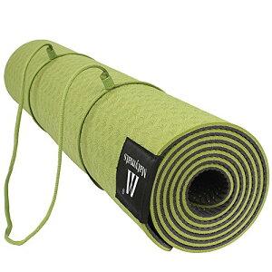 """ヨガマット フィットネス Matymats Non Slip TPE Yoga Mat with Carry Strap for Pilate Gymnastics Bikram Meditation Towel- High Density Thick 1/4'' Durable Mat 72"""" 24"""" Eco Safe Non Toxicヨガマット フィットネス"""