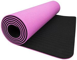 """ヨガマット フィットネス MATPE04_VE01 Wacces TPE Exercise Fitness Yoga Gym Training Premium Mat Dual Reversible Non-Slip, Pink/Black, 6mm, 24"""" L x 5"""" H x 5"""" Wヨガマット フィットネス MATPE04_VE01"""
