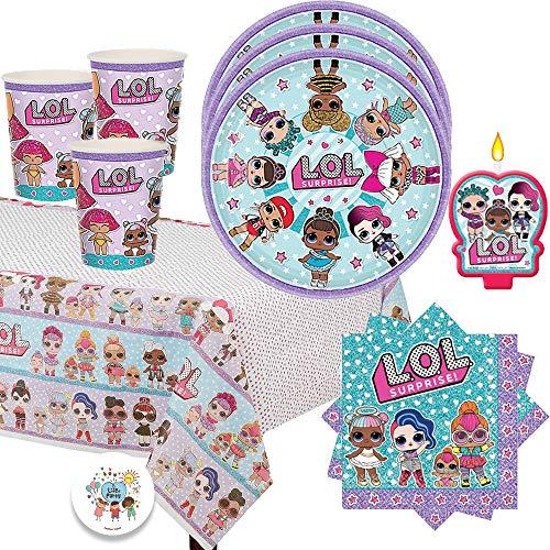 エルオーエルサプライズ 人形 ドール L.O.L Surprise Birthday Party Pack for 16 with Plates, Napkins, Cups, Tablecover, Candle and EXCLUSIVE Birthday Pin by Another Dream!エルオーエルサプライズ 人形 ドール画像
