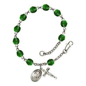 Bonyak Jewelry ブレスレット ジュエリー アメリカ アクセサリー Bonyak Jewelry St. Theresa Silver Plate Rosary Bracelet 6mm May Green Fire Polished Beads Crucifix Size 5/8 x 1/4 Medal CharmBonyak Jewelry ブレスレット ジュエリー アメリカ アクセサリー