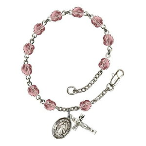 Bonyak Jewelry ブレスレット ジュエリー アメリカ アクセサリー 【送料無料】Bonyak Jewelry Our Lady of Peace Silver Plate Rosary Bracelet 6mm June Light Purple Fire Polished Beads CrucifBonyak Jewelry ブレスレット ジュエリー アメリカ アクセサリー