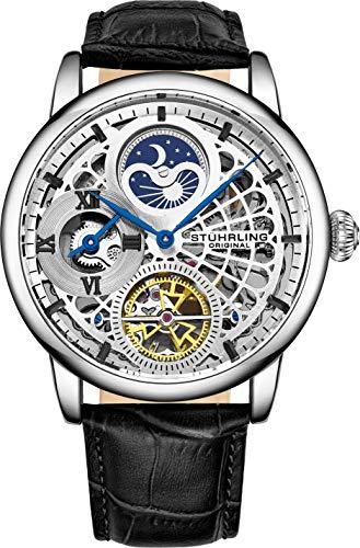 腕時計, メンズ腕時計  St?hrling Original Mens Skeleton Watch Silver Analog Watch Dial Mens Automatic Watch - Dual Time, AMPM Sun Moon, Genuine Leather Band, 3926 Mens Watches